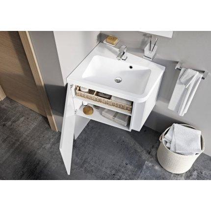 Dulap baza pentru lavoar de colt Ravak Concept 10° cu un sertar, 65x53.5x45cm, stanga, gri