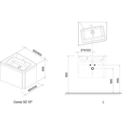 Dulap baza pentru lavoar de colt Ravak Concept 10° cu un sertar, 55x48.5x45cm, stanga, nuc inchis