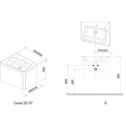 Dulap baza pentru lavoar de colt Ravak Concept 10° cu un sertar, 55x48.5x45cm, dreapta, nuc inchis