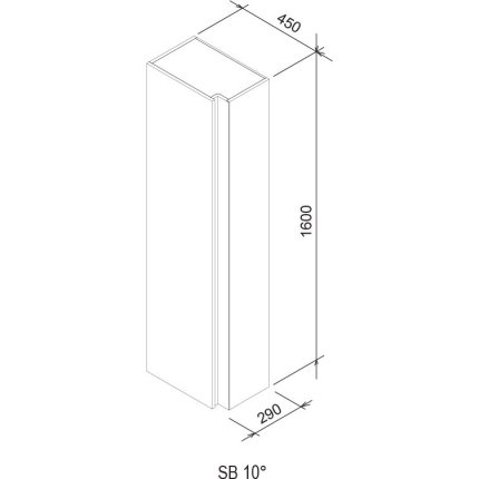 Dulap inalt tip coloana Ravak Concept 10° cu o usa, 45x29x160cm, nuc inchis