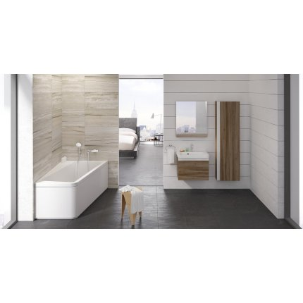 Oglinda baie Ravak Concept 10° cu polita, 55x75x11cm, gri