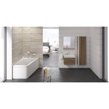 Oglinda baie Ravak Concept 10° cu polita, 55x75x11cm, nuc inchis