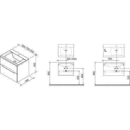 Dulap baza pentru lavoar Ravak Concept Classic II SD 800R cu doua sertare, 80x49x60cm, dreapta, alb