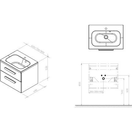 Dulap baza pentru lavoar Ravak Concept Chrome II SD600 cu doua sertare, 60x49x50cm, cappuccino-alb
