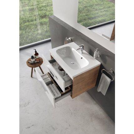 Dulap baza pentru lavoar Ravak Concept Chrome II SD700 cu doua sertare, 70x49x50cm, cappuccino-alb
