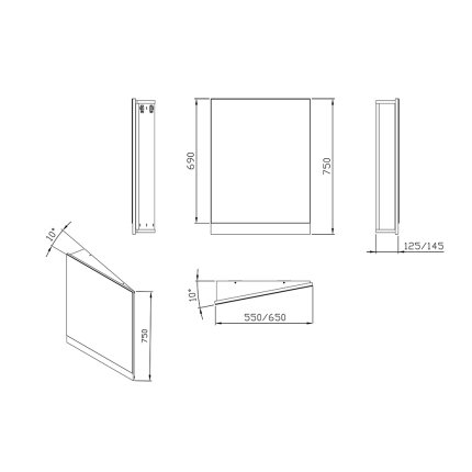 Oglinda de colt Ravak Concept 10° 65x75x15cm, stanga, gri