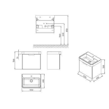 Dulap baza pentru lavoar Ravak BeHappy II cu un sertar, 53x37x43.5cm, alb