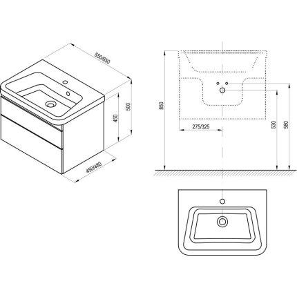 Dulap baza pentru lavoar Ravak Concept 10° cu 2 sertare, 55x45x45cm, alb