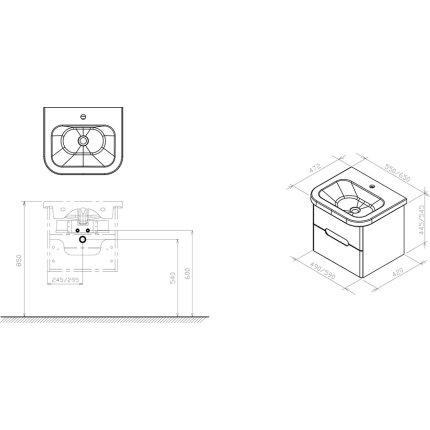 Dulap baza pentru lavoar ceramic Ravak Concept Chrome II cu doua sertare,  49x42x44.5cm, alb