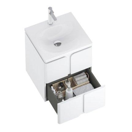 Dulap baza suspendat Ravak SD Balance 60cm cu doua sertare soft close, alb