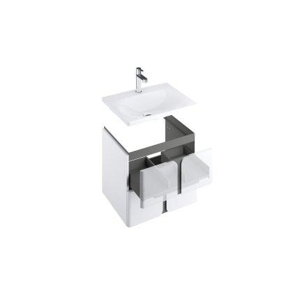 Dulap baza suspendat Ravak SD Balance 60cm cu doua sertare soft close, alb-antracit