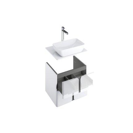 Dulap baza suspendat Ravak SD Balance 80cm cu doua sertare soft close, alb-antracit