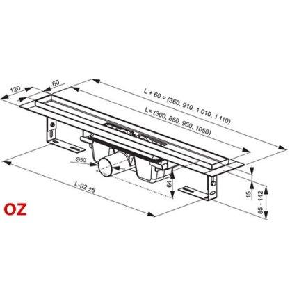 Rigola de dus Ravak Concept Chrome OZ 75cm inox
