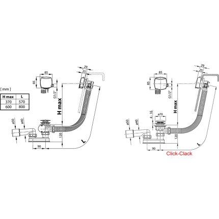Sifon pentru cada Ravak 570 B S/R cu umplere prin preaplin