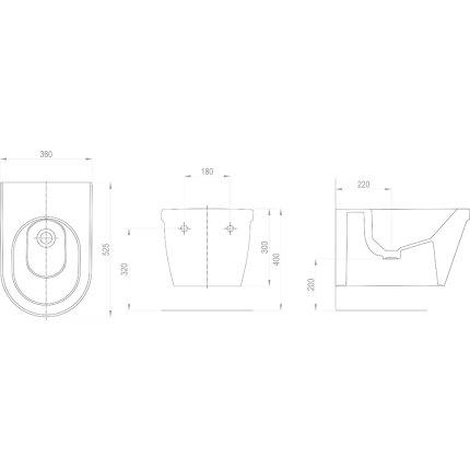 Bideu suspendat Ravak Concept Chrome 36x52.5x30cm