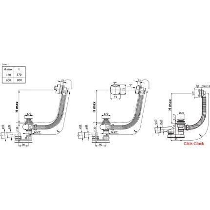 Sifon pentru cada Ravak 570 C S/R cu actionare prin preaplin, 57cm, crom