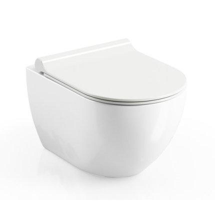 Capac WC Ravak Concept Chrome Uni slim cu inchidere lenta, alb