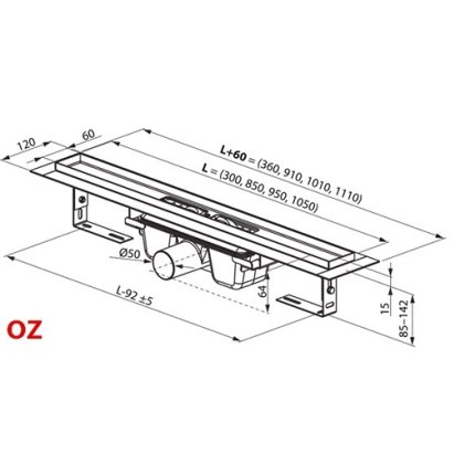 Rigola de dus Ravak Concept 10° OZ 105cm, inox