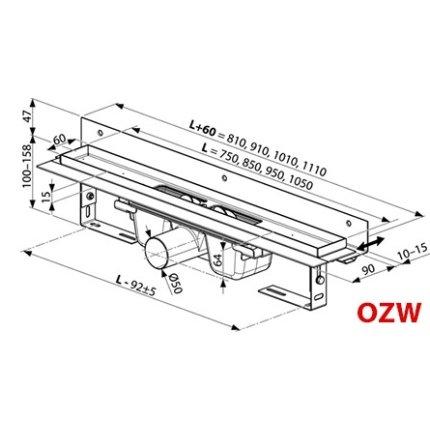 Rigola de dus Ravak Concept Chrome OZW 75cm inox
