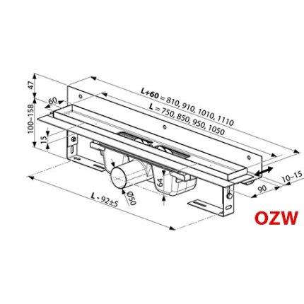 Rigola de dus Ravak Concept 10° OZW 95cm, inox