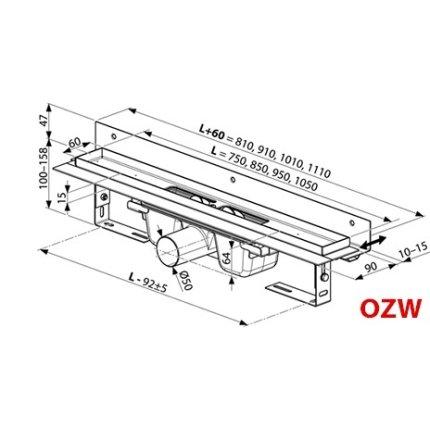 Rigola de dus Ravak Concept 10° OZW 85cm, inox