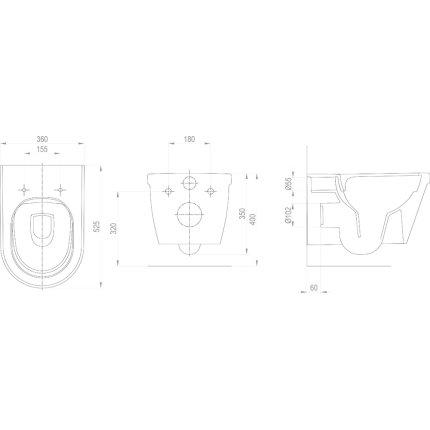 Vas WC suspendat Ravak Concept Chrome RimOff 36x52.5x35cm