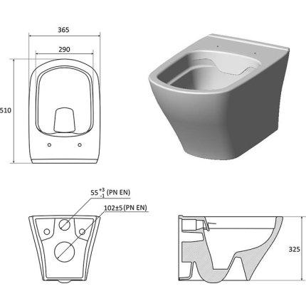 Vas WC suspendat Ravak Concept Classic RimOff 36.5x51x32.5cm