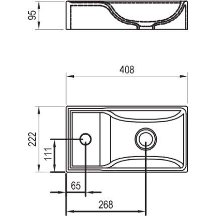 Lavoar Ravak Veda 400 cu montare pe mobilier, fara orificiu preaplin, 40x22cm, alb