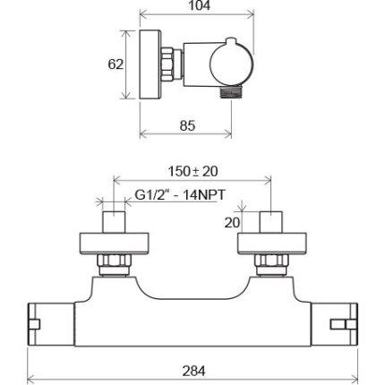 Baterie dus termostatatata Ravak Termo 100 TE 032.00/150, crom