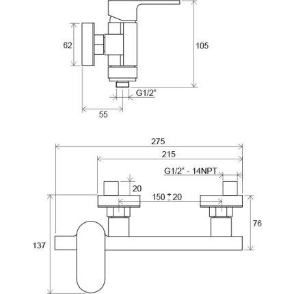 Baterie dus Ravak Concept Chrome CR 032.00
