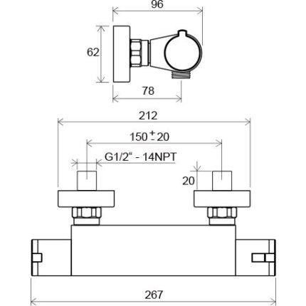 Baterie dus termostatatata Ravak Termo 200 TE 072.00/150, crom
