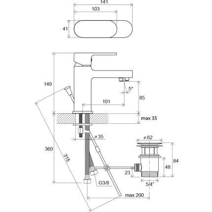 Baterie lavoar Ravak Concept Chrome CR 011.00, ventil pop-up
