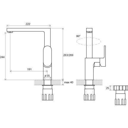 Baterie bucatarie Ravak Concept Chrome