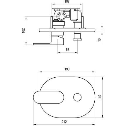 Baterie cada Ravak Concept Chrome CR.065.00 cu montaj incastrat, necesita corp ingropat R-box