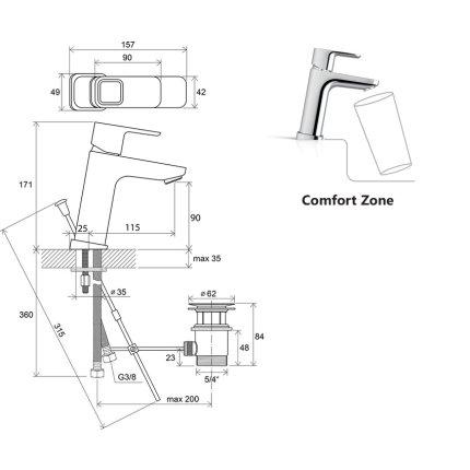 Baterie lavoar Ravak Concept 10°, 170mm, ventil pop-up