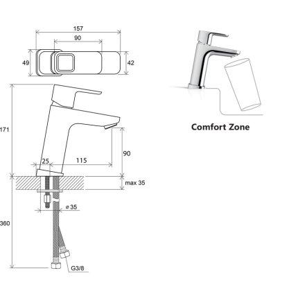 Baterie lavoar Ravak Concept 10°, 170mm, fara ventil