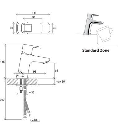 Baterie lavoar Ravak Concept 10°, 140mm, fara ventil