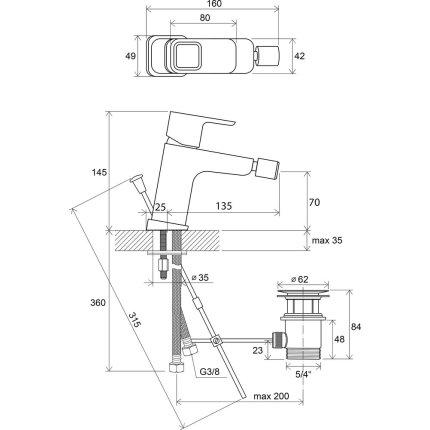 Baterie bideu Ravak Concept 10°, 140mm, ventil pop-up
