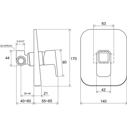 Baterie dus Ravak Concept 10° cu montaj incastrat, corp ingropat inclus