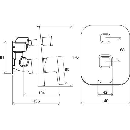 Baterie cada Ravak Concept 10° cu montaj incastrat, necesita corp ingropat R-box