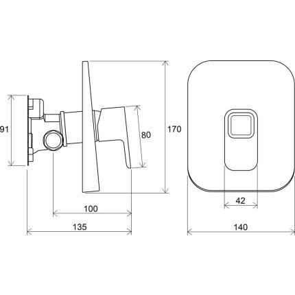 Baterie dus Ravak Concept 10° cu montaj incastrat, necesita corp ingropat R-box