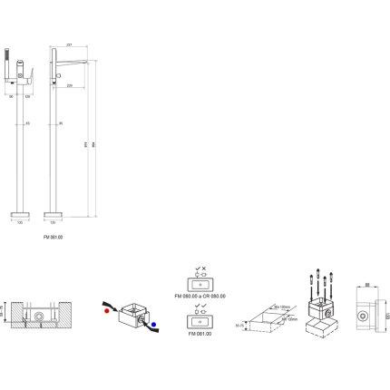Baterie cada cu montaj pe pardoseala Ravak FM 081.00, crom