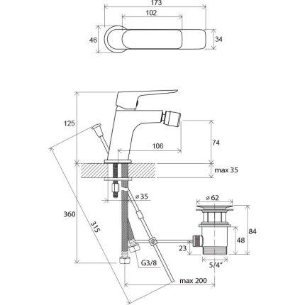 Baterie bideu Ravak Classic CL 055.00, ventil pop-up, crom