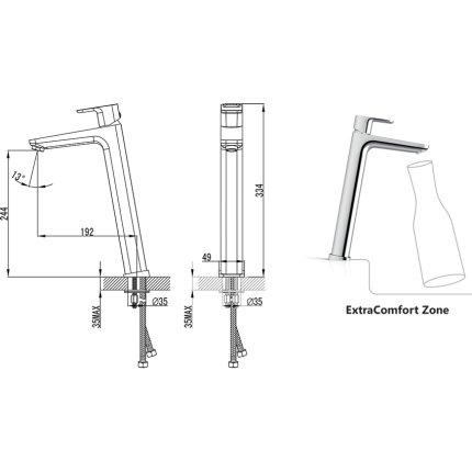 Baterie lavoar Ravak Concept 10°, 334mm, fara ventil