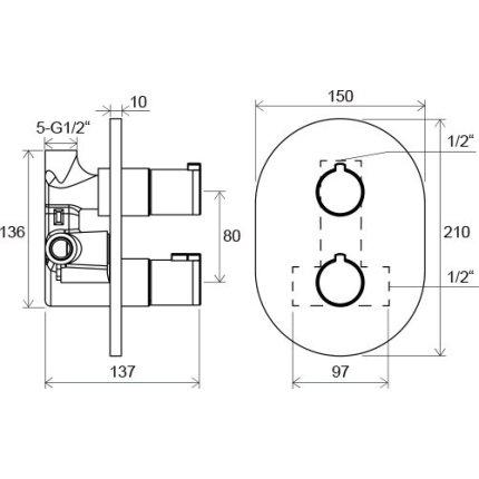Baterie dus termostatata Ravak Concept Chrome CR 064.00 cu montaj incastrat, corp ingropat inclus