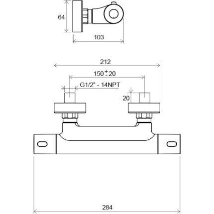 Baterie dus termostatatata Ravak Termo 300 TE 033.00/150, crom