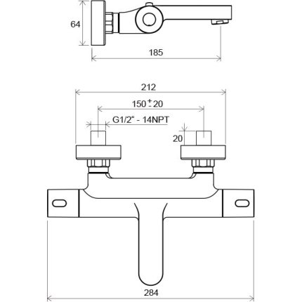 Baterie cada termostatata Ravak Termo 300, TE 023.00/150