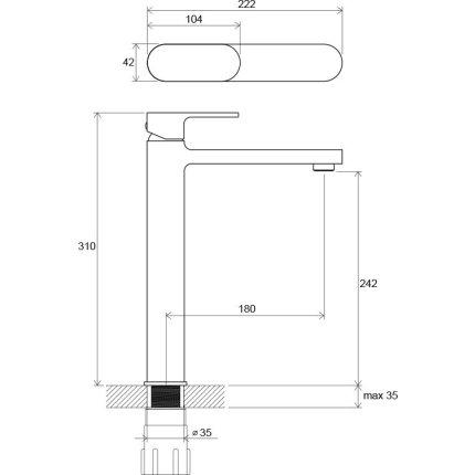 Baterie lavoar lavoar Ravak Concept Chrome CR 015.00, 311mm, pentru lavoare tip bol, fara ventil