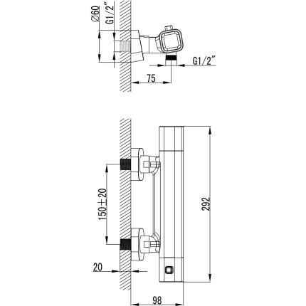 Baterie dus termostatata Ravak Concept 10°