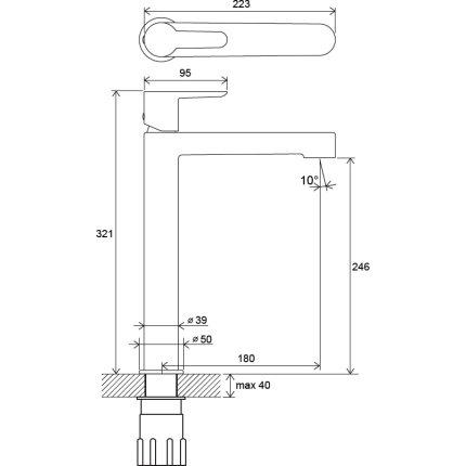 Baterie lavoar Ravak Puri PU 015.00 pentru lavoare tip bol, fara ventil, crom